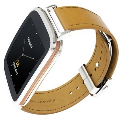 Asus ZenWatch (WI500Q) Silver Case Brown Band sotovikmobile.ru 8(495)005-94-13